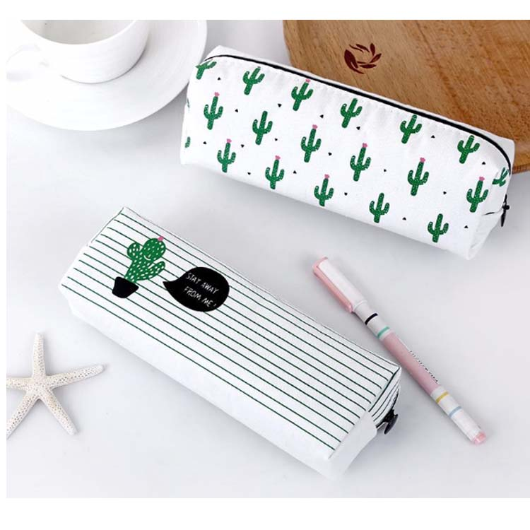 New version student cactus print canvas pencil bag stationery case with zipper