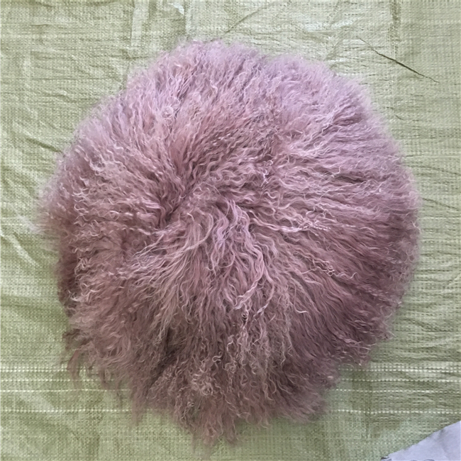 Long Curly Hairs Sheepskin Pillows Tibetan Mongolian Lambskin Cushion Covers