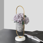 Modern luxury hand made grey marble flower vase plant pot with metal for home decoration in top sale
