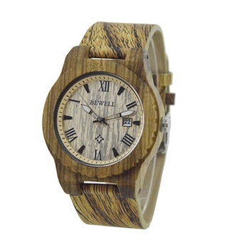 Online wholesale wooden watch UP leather strap red sandal wood leather watches with auto date wristwatches
