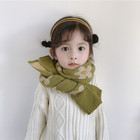 Q575 Cute Solid Color Print Flower Children Scarves 20*130 Winter Warm Wool Weft knitting Kids Neck Long Tassels Scarf