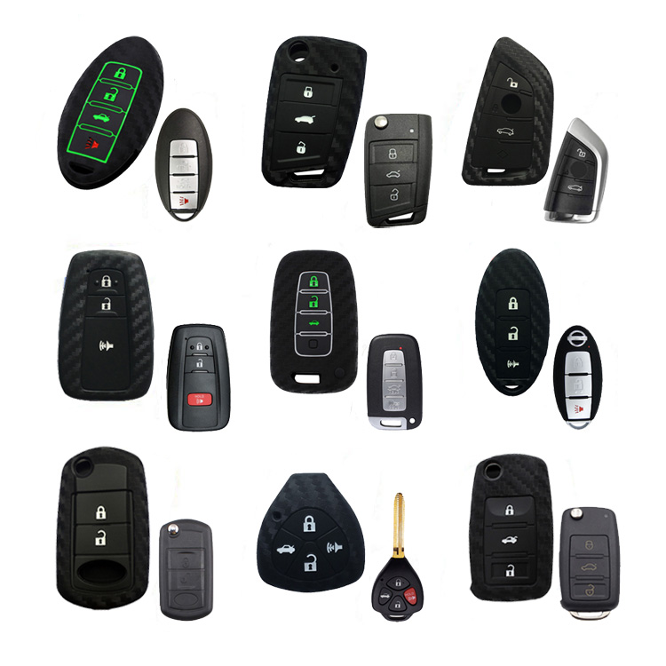 New Accesorios Para Autos Keyless Key Fob Protector Silicone Carbon Fiber Car Key Cover