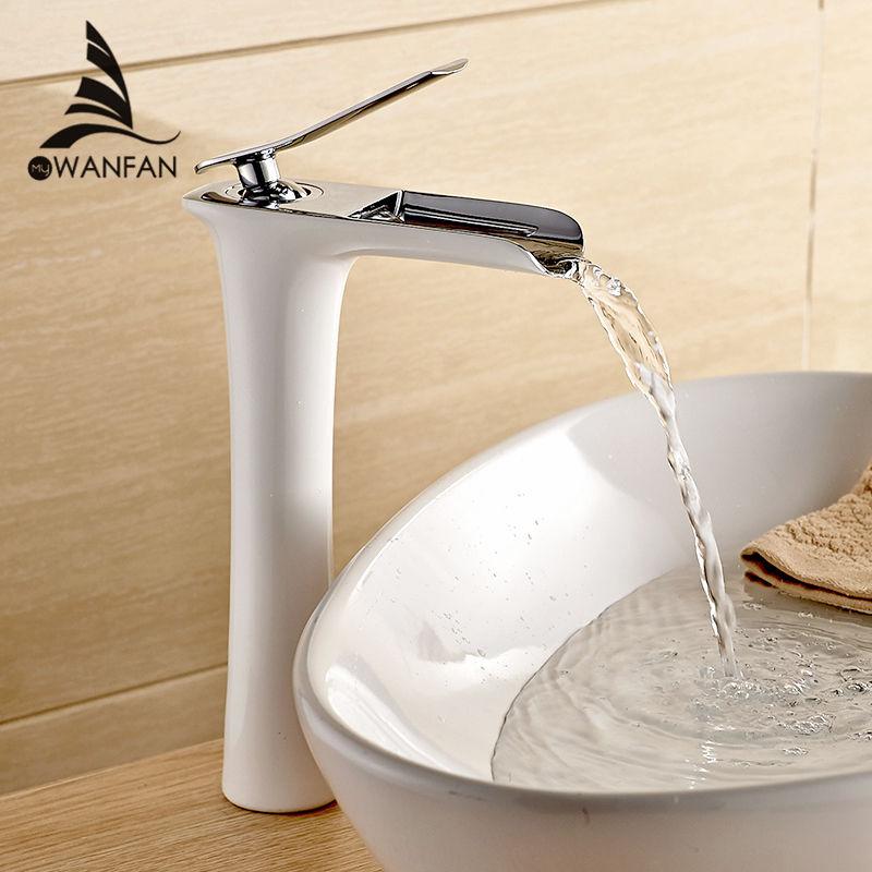 אגן ברז 6008 באיכות גבוהה מודרני לבן אמבטיה ברז גמיש חור אחד קר וחם מים פליז שחור אגן ברז