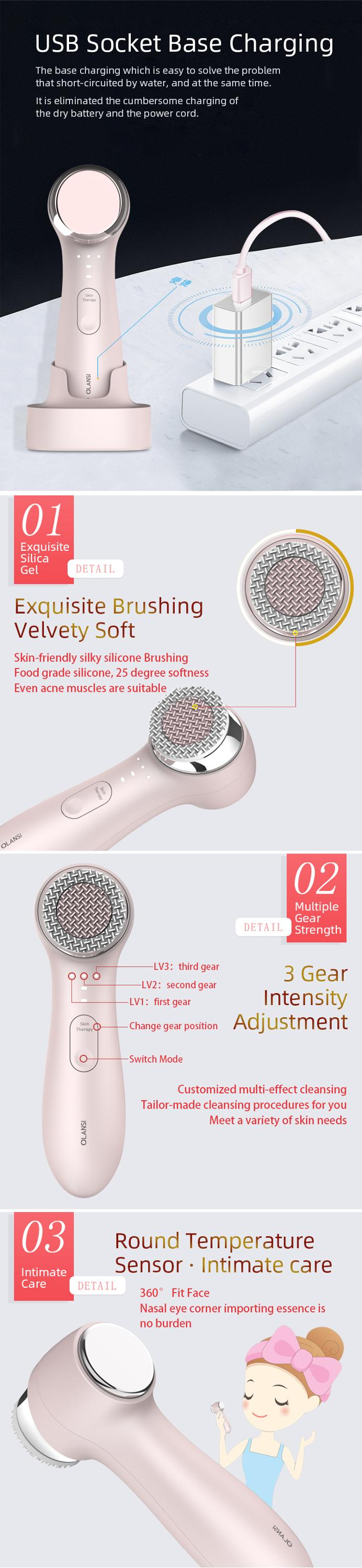 Clear Imported 2 in 1 Function Waterproof Electric Silicone Cleansing Fce Cleaning Brush