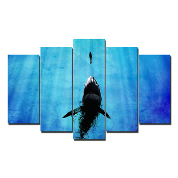 5 pieces Abstract easy famous blue Ocean and shark art painting