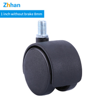 Custom Wholesale Moving 1 inch 8 mm screw Rod Nylon Casters  Office Chair Caster Furniture Moving Wheels