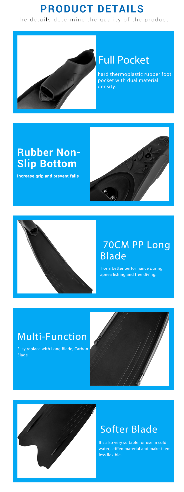 Full Pocket Freediving Fins Spearfishing Soft And Powerful ...
