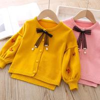 2019 Spring Autumn Children Wool Sweater Fashion Baby Outerwear Embroidery Jacket Cardigan Coat Toddler Girls Knitted Clothes