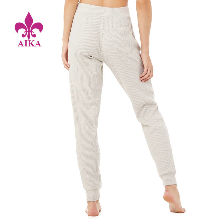 Cheap Wholesale Latest Casual Design Soft Ribbed Knit Women Sports Workout Sweat Pants