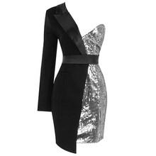 Высококачественное красное/серебристое платье-смокинг с одним рукавом и блестками, Vesdioes(Китай)