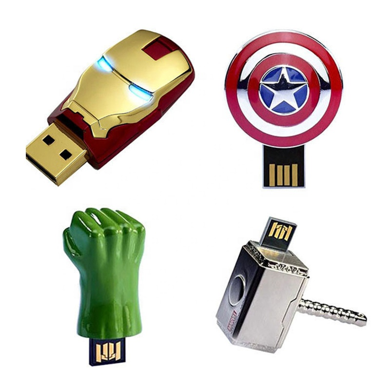 Ceamere CMU-026 Wholesale Iron Man Captain American Shield Hammer USB 2.0 <strong>Flash</strong> 128GB 32GB 16GB 8GB Pen Drives Pendrive 64GB