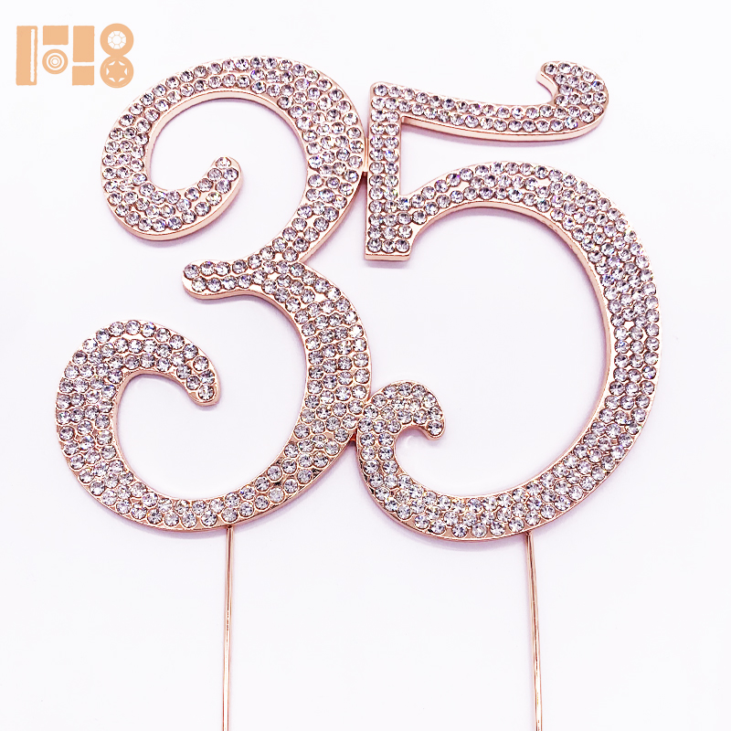 <strong>Cake</strong> <strong>accessories</strong> Guangzhou Party Decoration Rose Number 35 Birthday Sparkle Rhinestone <strong>Cake</strong> Topper