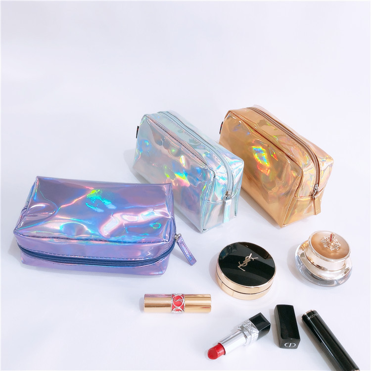 Custom Logo Shiny PU PVC Bag Makeup Holographic Cosmetic Bags