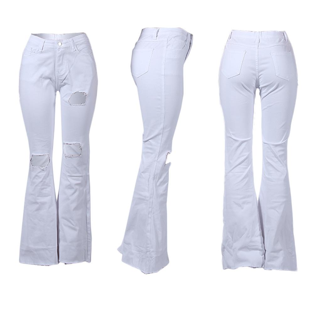 FM-Y159 Wholesale Custom fabrics jeans Women Jeans Distressed Bell Bottom Wide Leg Denim Jeans Ladies Pants