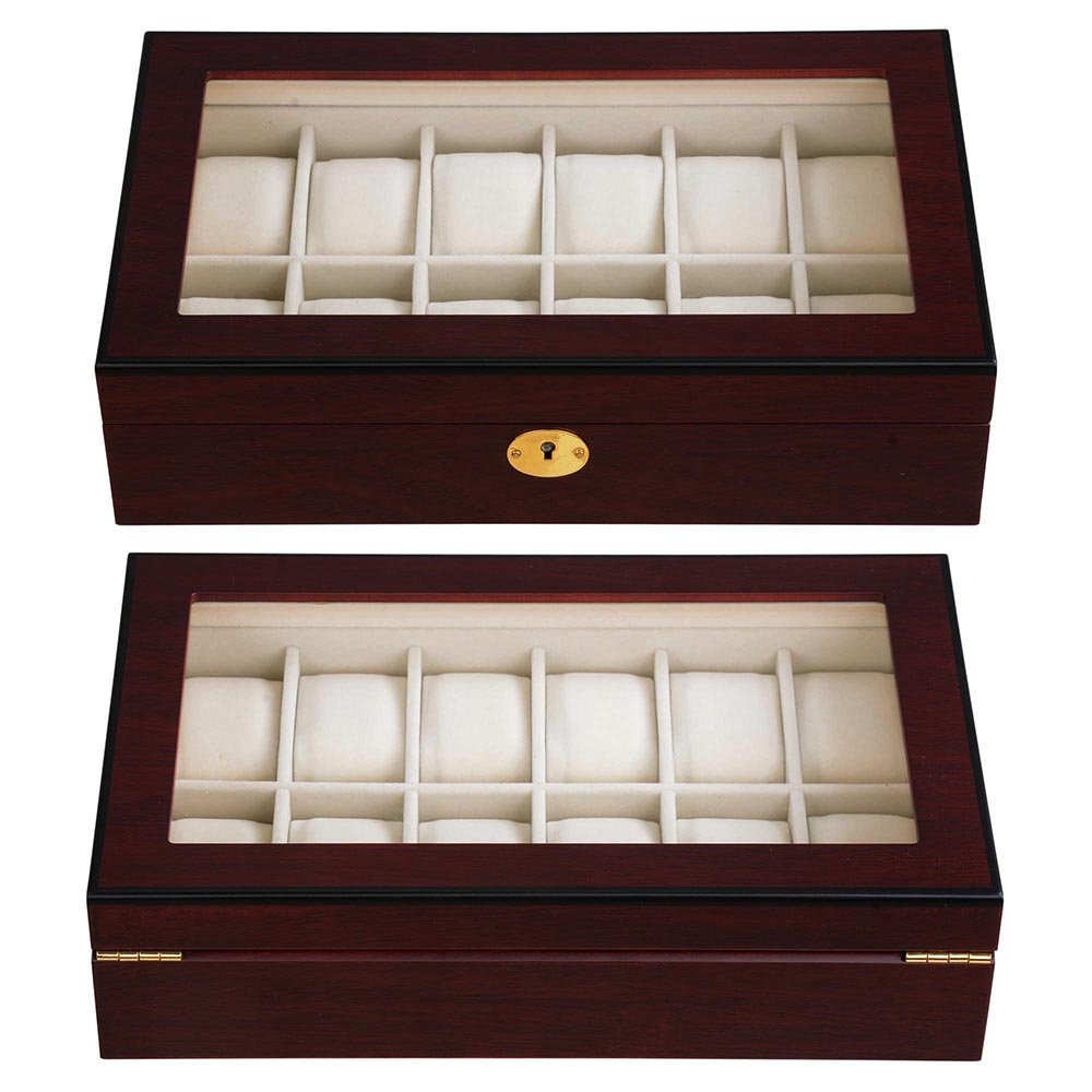 creative unique high quality gift mdf velvet locked 12 slot wooden watch box organizer with mirror with pillow