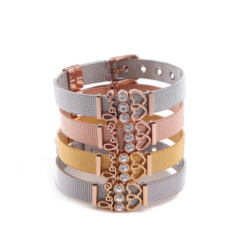 Hot Saling New Design Stainless Steel 18k Real Gold Bangle LOVE Zircon Heart Charm Slide Bangle For Women