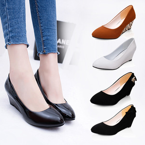 New middle wedge heel shoes women's bow round head wedge with single shoes large size wholesale
