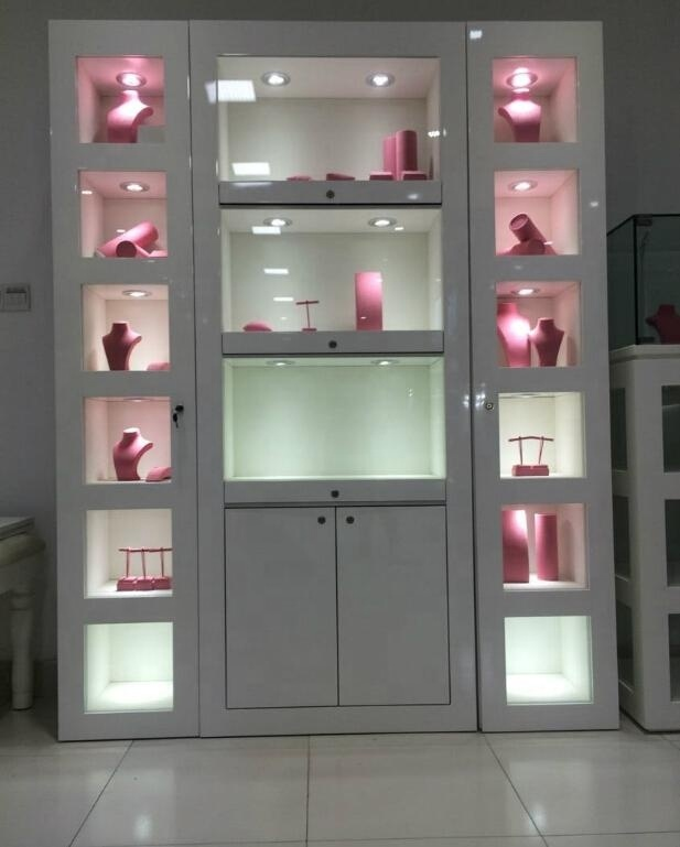 Wooden Wall Showcase for Jewelry Retail Jewelry Display Cabinet with LED Light  Boutique Jewelry Furniture
