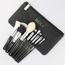 BEILI Pro zwarte Make-Up Kwasten Set zak poeder brush set houten handvat Geitenhaar Make-Up Borstel Set reizen make-up borstel 8pcs