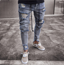 Mens Kurus Jeans Ripped Slim Fit Stretch Denim Kesulitan Frayed Biker Scratchted Hollow Keluar Jeans Panjang Anak Y12744