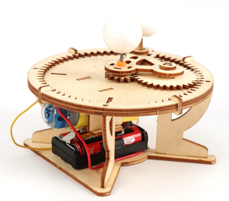DIY Wood Toy Solar System Globe Sun Earth Moon System Model Puzzle Educational Toys for Children Science Kit