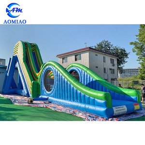Commercial giant adult inflatable trippo water slide double lane slip slide for sale