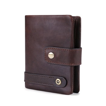 Factory Wholesale RFID Blocking Vintage Trifold Leather Wallet Men Genuine Leather with Zip Coin Pocket Wallets