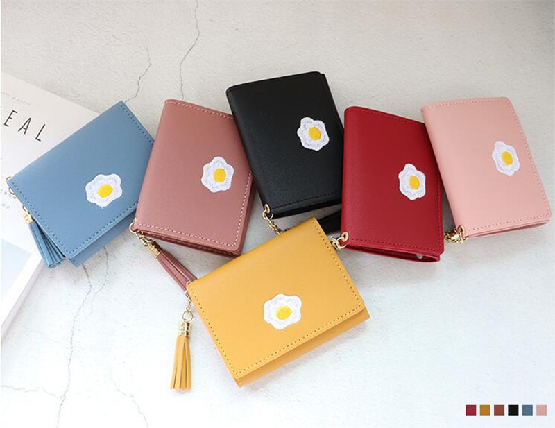 product-2020 1 Pc Women Cartoon Short Wallet Leather Fried Egg Cute Wallets Purse Card Holder Lady F