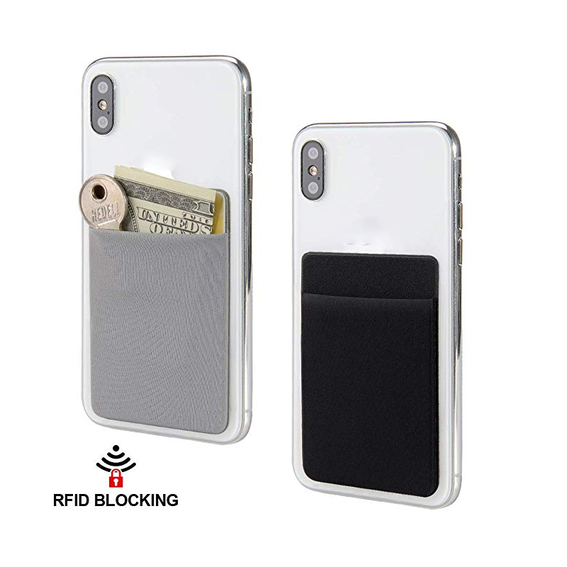RFID Stretchy Lycra Blocking Stick-On Credit Card Sleeves Adhesive <strong>Phone</strong> Wallet <strong>Pockets</strong> Fits Most <strong>Cell</strong> <strong>Phones</strong>