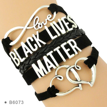 Manufacturer All Black Lives Matter Support the Black I can't Breathe Not One More Double Heart Leather Wrap Bracelets for Women