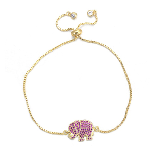 Female Slider Chain Pulseira Women Girls Jewelry Rose Pink Zircon Crystal Bracelets Cute Animal Elephant Charm Bracelet