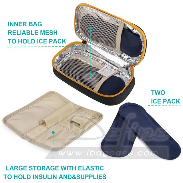 Portable Insulated Travel Insulin Cooler Case Bag with Ice Pack