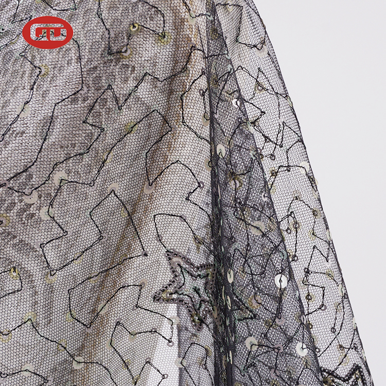 דובאי אופנה שמלת דקורטיבי שחור רשת פאייטים רקום בד טול