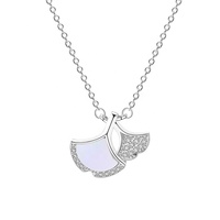Trendy 925 sterling silver women jewelry zircon and shell Fan shape two pendant necklace gold plated
