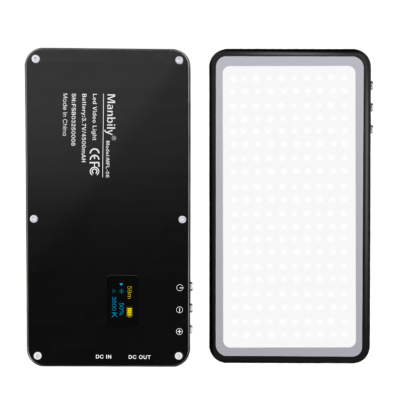 Manbily MFL-06 camera licht Ultra-dunne LED Dual kleur temperatuur oled-scherm pocket fill light kan worden power bank