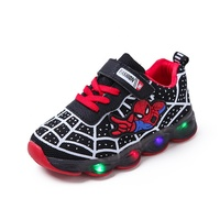 Cheap China manufacturer Children Casual Sneakers Spiderman Design LED Boys Kids Shoes