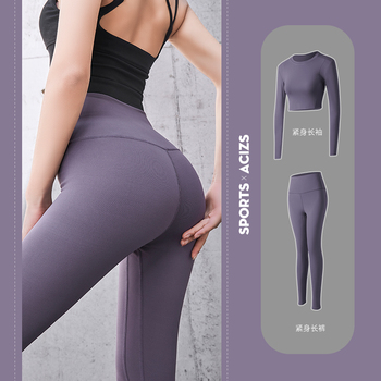 Women Fitness Clothing Seamless Cropped Top Yoga Leggings Gym Sportswear Sport Workout Tracksuit Yoga Set