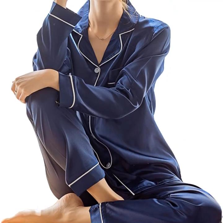 2 adet yaz kadın pijama katı tam kollu gömlek uzun pantolon sahte ipek saten pijama setleri gecelik kadın pijama takım elbise