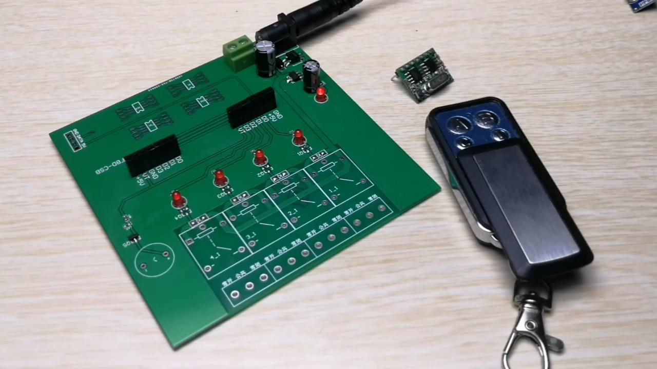 433.92 learning code4key remote control + RF receiving module