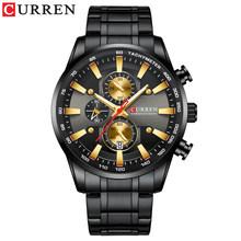 CURREN Спортивные кварцевые мужские часы с хронографом из нержавеющей стали, наручные часы, мужские светящиеся модные часы, Relogio Masculino(Китай)