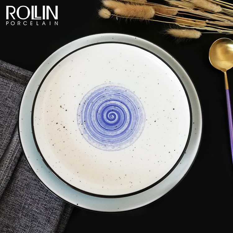 Wholesale custom logo tableware hotel use plate glazed ceramic dinner plate