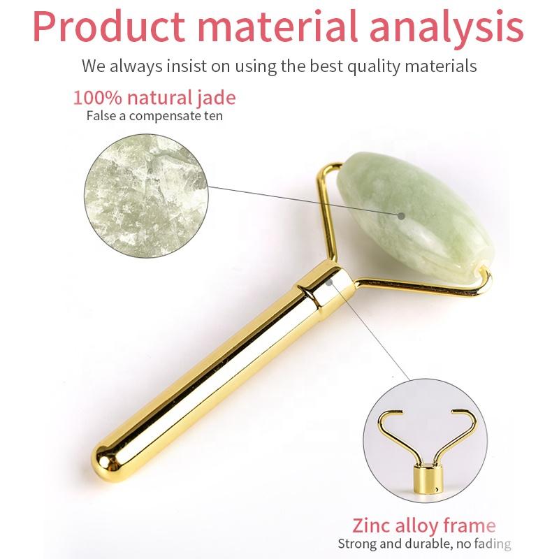 Green massager jade roller Handmade jade origin manufacturers wholesale zinc alloy frame mute version