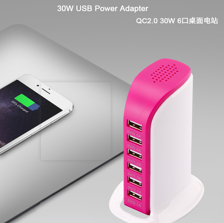 DP Multi-function 2.0 quick chariing  6 USB  Port Charger Mobile Tablet Fast Charge