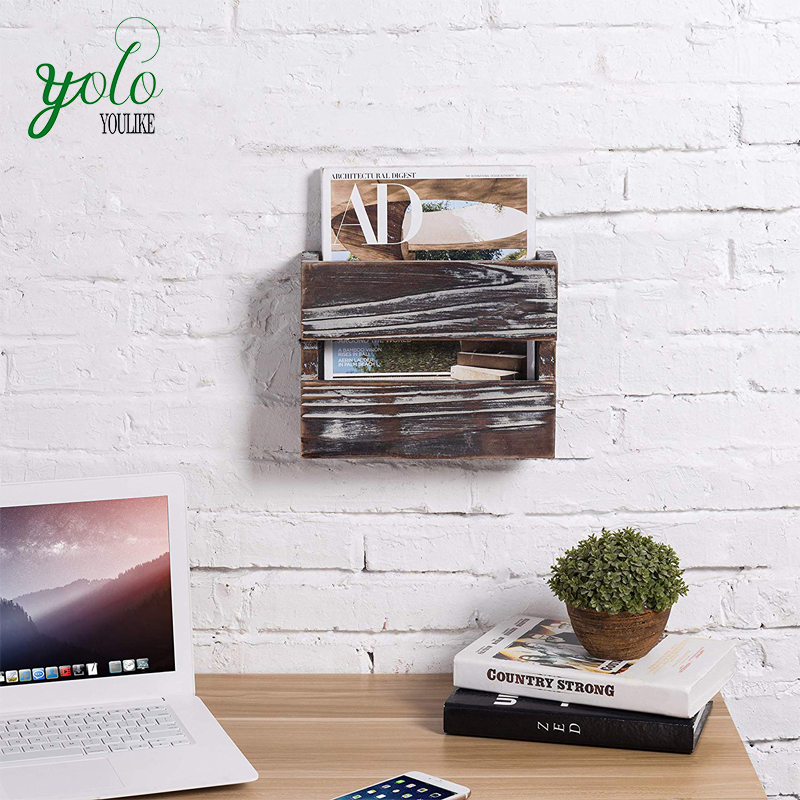 Rustic Torched Wood Wall Mounted Magazine Rack