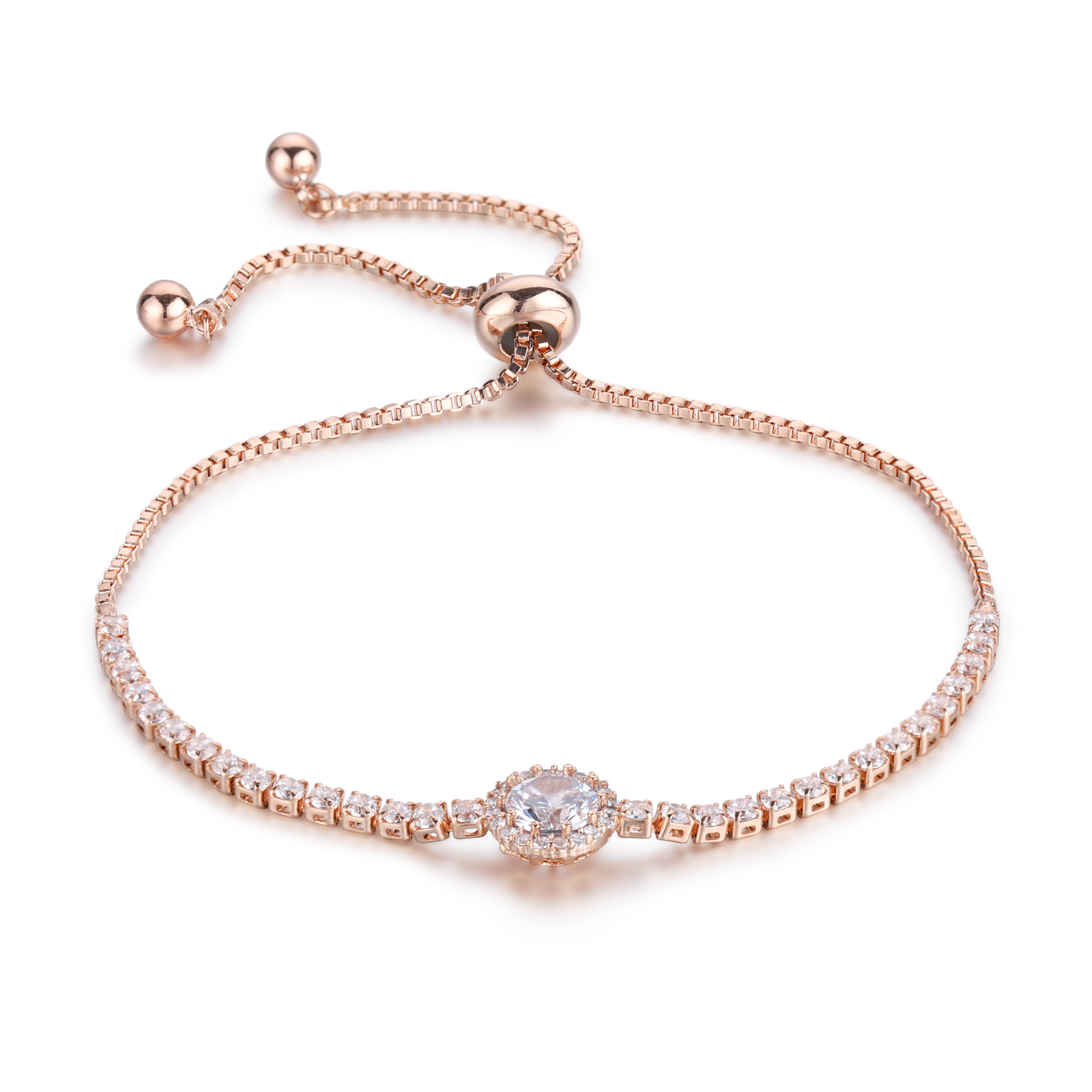 Adjustable Rose Gold Plated Copper Cubic Zirconia <strong>CZ</strong> Jewelry Diamond <strong>Tennis</strong> Chain <strong>Bracelet</strong>