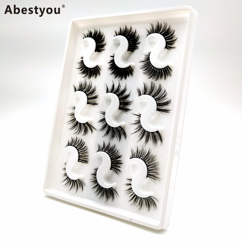 Abestyou 9pairs Best Selling Products Full Strip Lashes Private Label 5D 25mm Mink Eyelashes Vendor Fluffy Mink Eyelashes