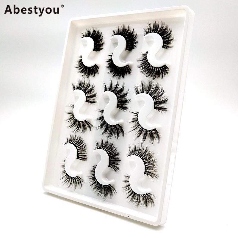 Abestyou 9pair Wholesale Bulk Cruelty Free Mink Lahes Lash Book Lashbook 25 mm 5d Mink Eyelashes with Customize Box