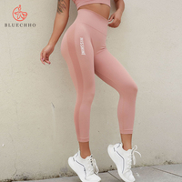 Mujer Ropa Deportiva Nude Girl Women Sexy Knitted Yoga Tights Leggings Fitness Butt Lifting Leggins Pink Yoga Pants