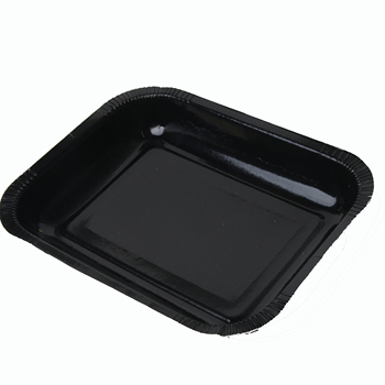 Large square black frozen paper plates with PET