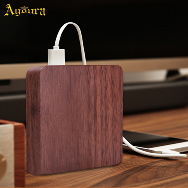 Creative wooden phone power bank 7800 mAh portable solid wood power bank